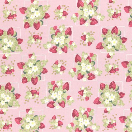 Lecien Fabric ~ La Conner ~ Strawberries in Peony Metallic
