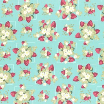 Lecien Fabric ~ La Conner ~ Strawberries in Rain Metallic