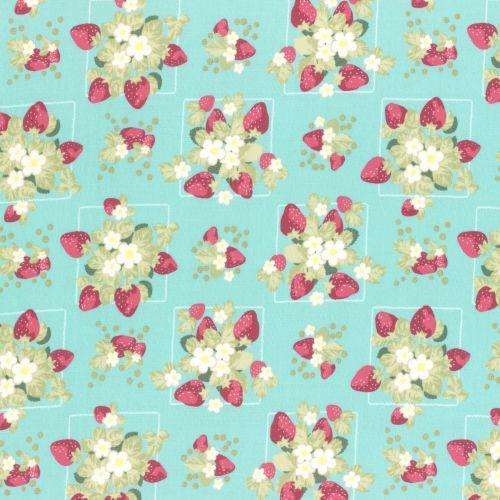 Lecien Fabric ~ La Conner ~ Strawberries in Rain Metallic