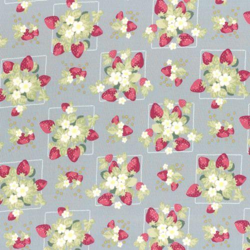 Lecien Fabric ~ La Conner ~ Strawberries in Wicker Metallic