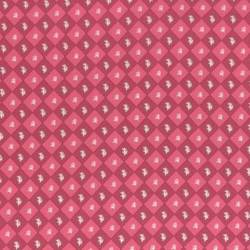 Lecien Fabric ~ La Conner ~ Floral Square in Cranberry