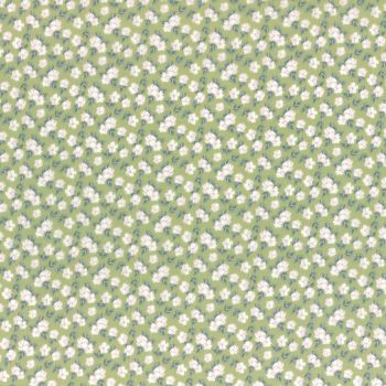 Lecien Fabric ~ La Conner ~ Pansies in Sage Metallic