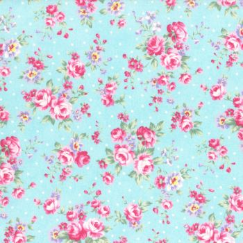Lecien Fabric ~ Princess Rose ~ Dottie Rose Blue