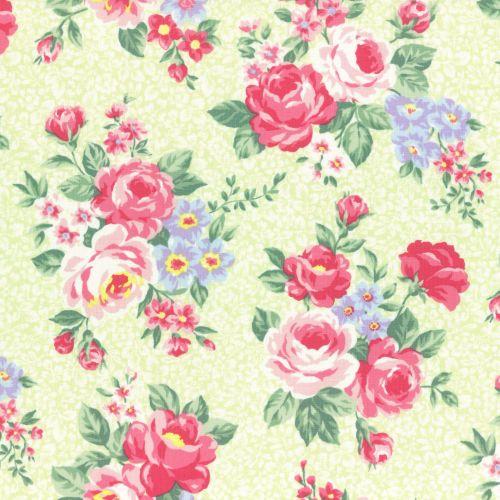 Lecien Fabric ~ Princess Rose ~ Floral Green