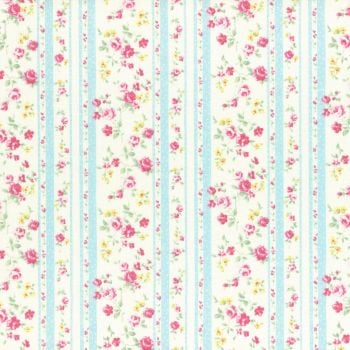 Lecien Fabric ~ Princess Rose ~ Floral Stripe Blue