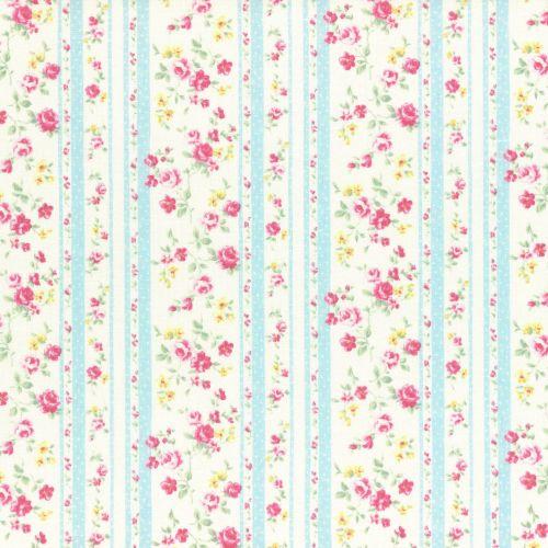 Lecien Fabric ~ Princess Rose ~ Floral Stripe Blue