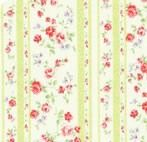 Lecien Fabric ~ Princess Rose ~ Floral Stripe Green