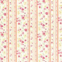 Lecien Fabric ~ Princess Rose ~ Floral Stripe Peach