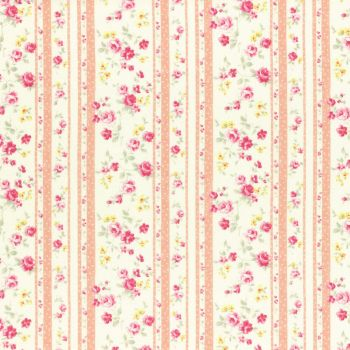 Lecien Fabric ~ Princess Rose ~ Floral Stripe Peach