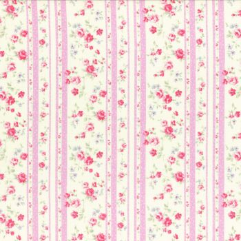 Lecien Fabric ~ Princess Rose ~ Floral Stripe Pink