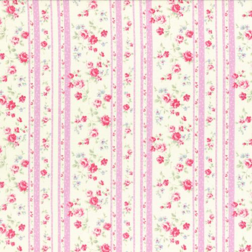 Lecien Fabric ~ Princess Rose ~ Floral Stripe Pink