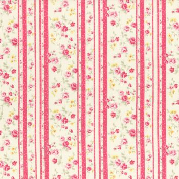 Lecien Fabric ~ Princess Rose ~ Floral Stripe Rose