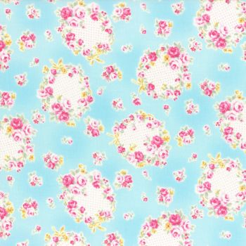 Lecien Fabric ~ Princess Rose ~ Floral Wreath Blue