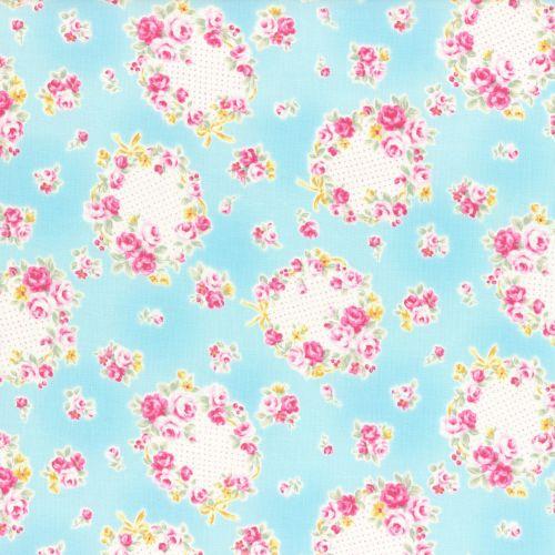Lecien Fabric ~ Princess Rose ~ Floral Wreath Blue