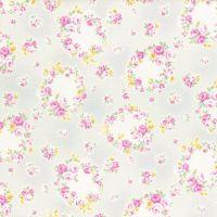 Lecien Fabric ~ Princess Rose ~ Floral Wreath Grey