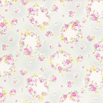 Lecien Fabric ~ Princess Rose ~ Floral Wreath Grey