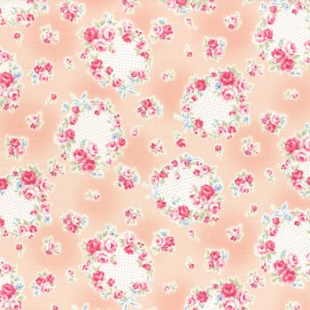 Lecien Fabric ~ Princess Rose ~ Floral Wreath Peach