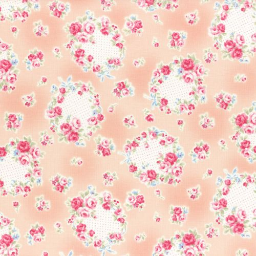 Lecien Fabric ~ Princess Rose ~ Floral Wreath Peach