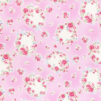 Lecien Fabric ~ Princess Rose ~ Floral Wreath Pink