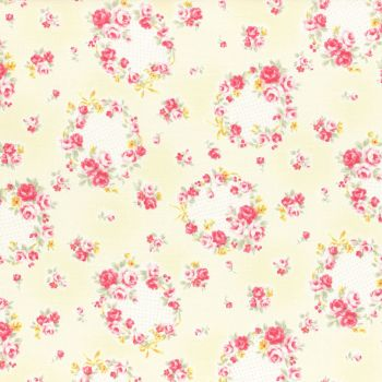 Lecien Fabric ~ Princess Rose ~ Floral Wreath Yellow