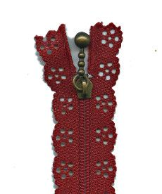 Lace Zip 20cm Length - Barn Red