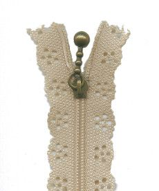 Lace Zip 20cm Length - Ecru