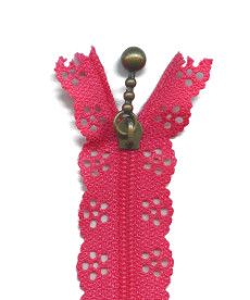 Lace Zip 20cm Length - Fuchsia