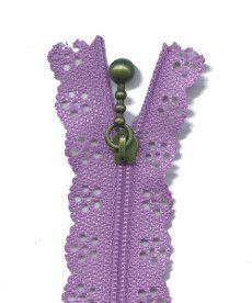 Lace Zip 20cm Length - Lavender