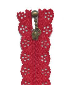Lace Zip 20cm Length - Red