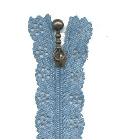 Lace Zip 35cm Length - Light Blue