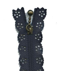Lace Zip 35cm Length - Navy Blue
