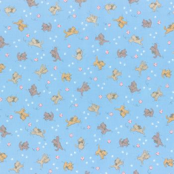 Lecien Fabric ~ Retro 30's Smile Child Spring 2017 ~ Kittens Blue