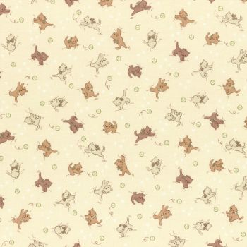 Lecien Fabric ~ Retro 30's Smile Child Spring 2017 ~ Kittens Cream
