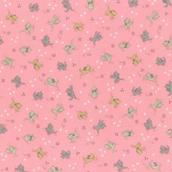 Lecien Fabric ~ Retro 30's Smile Child Spring 2017 ~ Kittens Pink