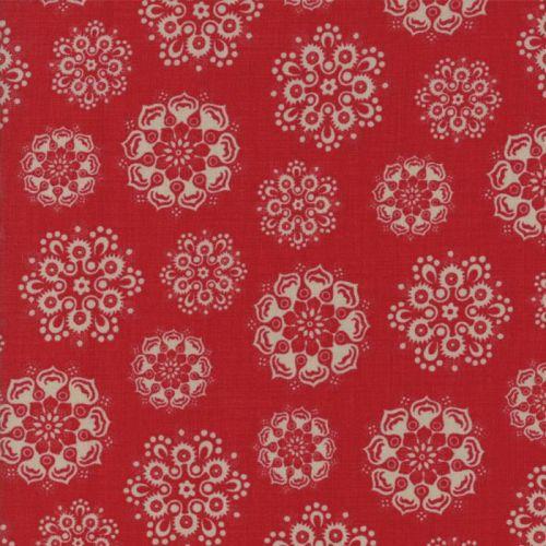Moda Fabrics ~ Petite Maisons de Noel ~ Estelle Rouge