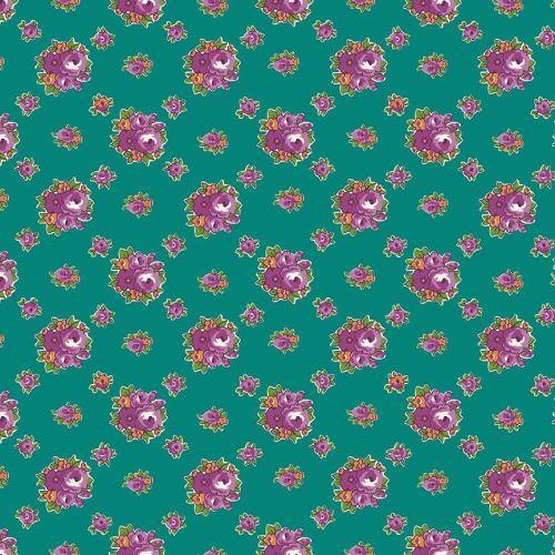 Penny Rose Fabrics ~ Prim and Proper ~ Medium Floral Teal