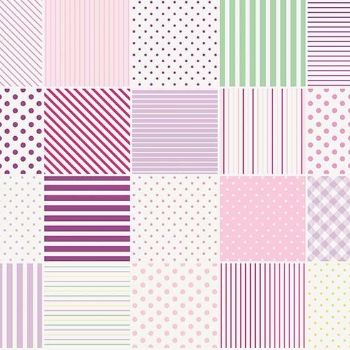 Penny Rose Fabrics ~ Little Dolly ~ Blocks Lilac HALF METRE