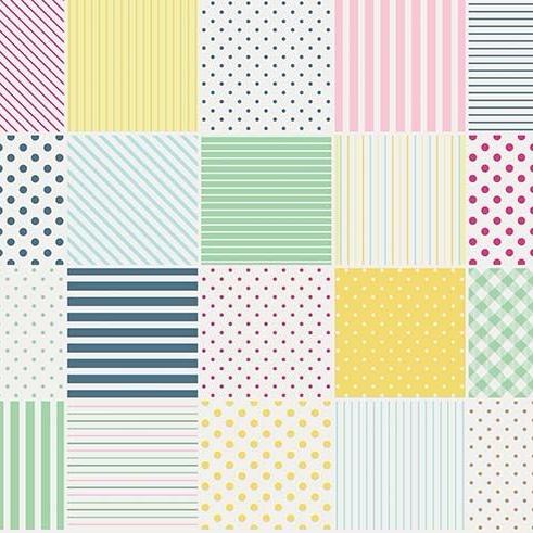 Penny Rose Fabrics ~ Little Dolly ~ Blocks Yellow HALF METRE
