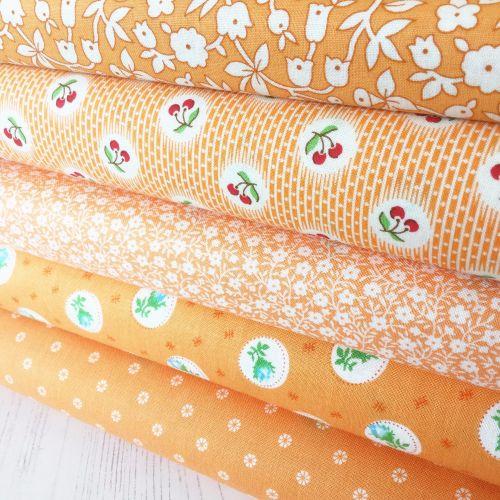 Penny Picks ~ 30's Reproduction Fabric Fat Quarter Bundle ~ Orange