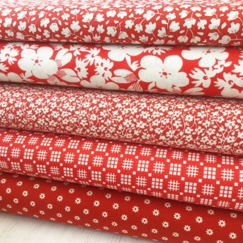 Penny Picks ~ 30's Reproduction Fabric Fat Quarter Bundle ~ Red