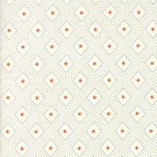Moda Fabrics ~ Ann's Arbor ~ Diamonds and Rose Bud Blue on Cream