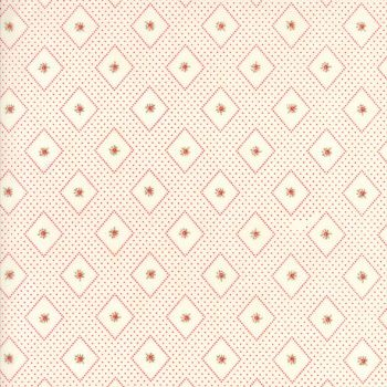 Moda Fabrics ~ Ann's Arbor ~ Diamonds and Rose Bud Red on Cream