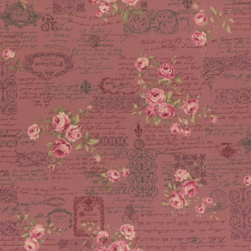 Lecien Fabric ~ Antique Rose ~ Floral Text Pink