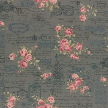 Lecien Fabric ~ Antique Rose ~ Floral Text Teal