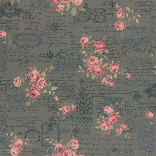 Lecien Fabric ~ Antique Rose ~ Floral Text Teal