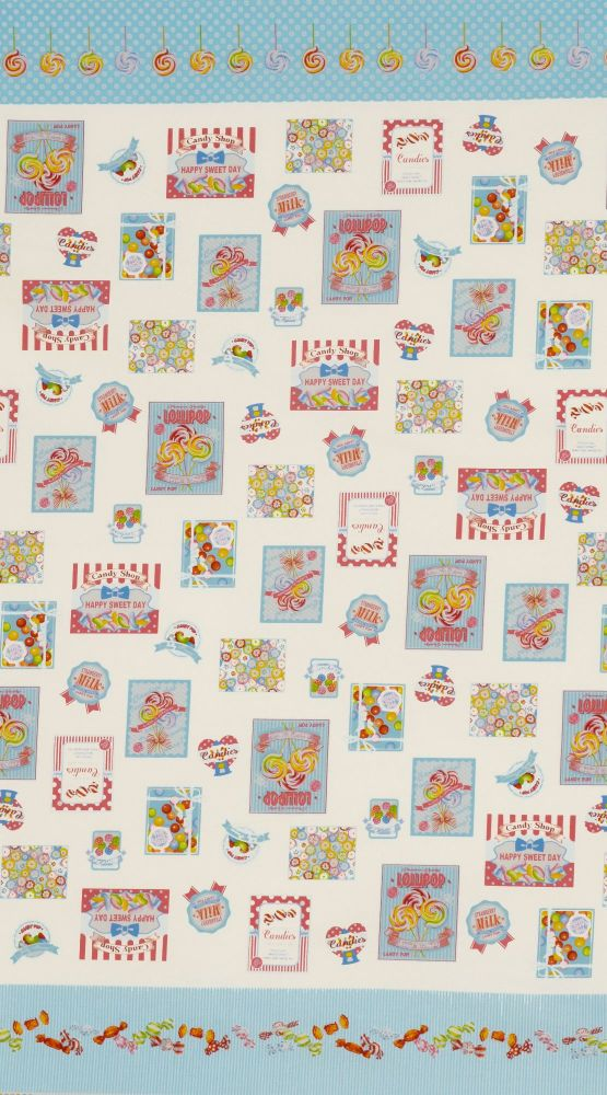 Lecien Fabric ~ Candy Shop ~ Labels Blue (Sold by the Half Metre)