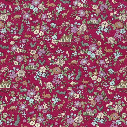 Lecien ~ Memoire A Paris ~ Woodland Animals Raspberry