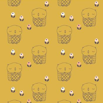 Dashwood Studio Fabric ~ Autumn Rain ~ Mustard Owl
