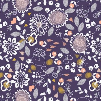 Dashwood Studio Fabric ~ Autumn Rain ~ Owls and Flowers