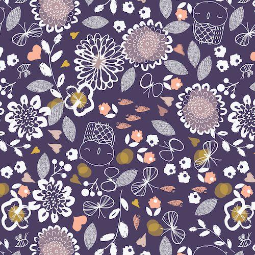Dashwood Studio Fabric ~ Autumn Rain ~ Owls and Flowers